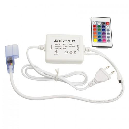 Controlador Larga Distancia Neón LED Flexible RGB, Control Remoto IR 24 Botones