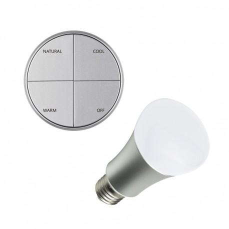 Kit Pulsador Wireless Plata Tª Color Seleccionable + Bombilla LED 8W