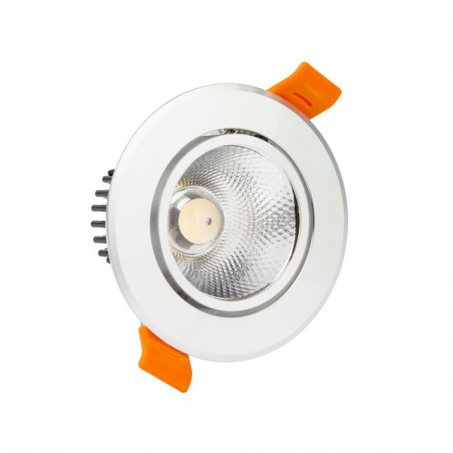 Foco Downlight LED COB Direccionable Circular 3W Plata