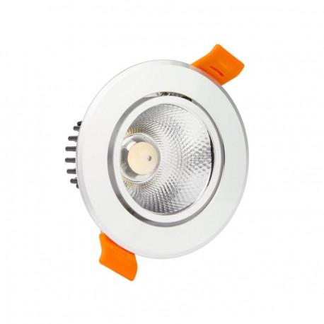 Foco Downlight LED COB Direccionable Circular 5W Plata