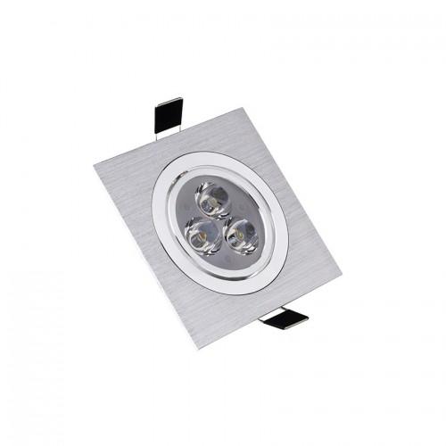 Foco LED Downlight Cuadrado 3x1W