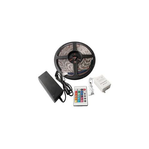 Tira LED 48W 60LED/m 5m IP65 RGB con Mando, Controlador y Fuente de Alimentación