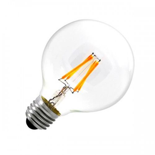 Bombilla LED E27 Regulable Filamento Globo G80 6W