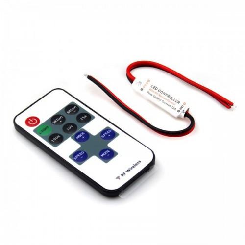 Mini Controlador Tira LED Monocolor 12/24V, Dimmer por Control Remoto RF 10 Botones