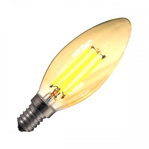 Bombilla LED E14 Regulable Filamento Classic Gold C35 3W