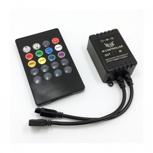 Controlador Musical Tira LED RGB 12V, Control Remoto IR 20 Botones