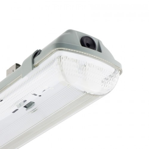 Pantalla Estanca para dos Tubos de LED 600mm PC/PC Conexión un Lateral