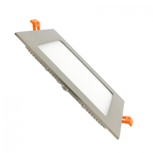 Placa LED Cuadrada SuperSlim 12W Marco Plata
