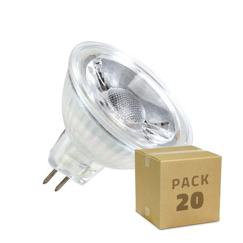 Pack Lámpara LED GU5.3 MR16 COB Cristal 220V 5W (20x1.99€)