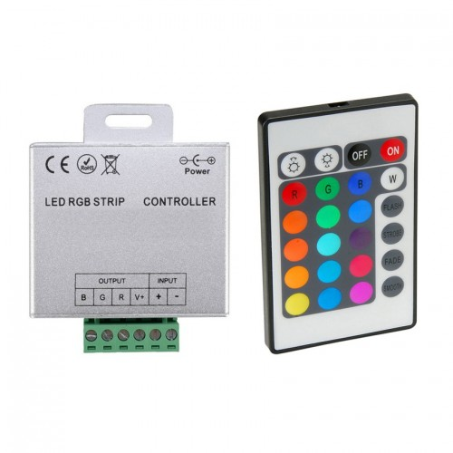 Controlador Tira LED RGB 12/24V, Dimmer por Control Remoto IR 24 Botones