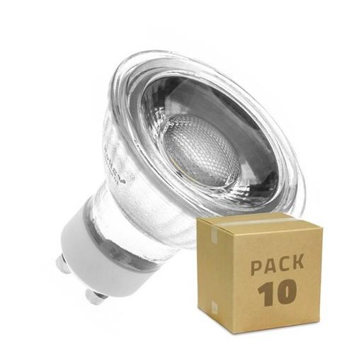 Pack 10 Lámparas LED GU10 COB Cristal 45º 5W