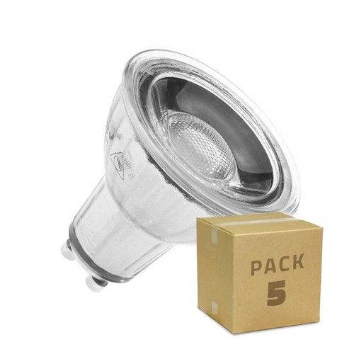 Pack 5 Lámparas LED GU10 COB Cristal 45º 7W