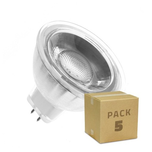 Pack 5 Lámparas LED GU5.3 MR16 COB Cristal 220V 5W