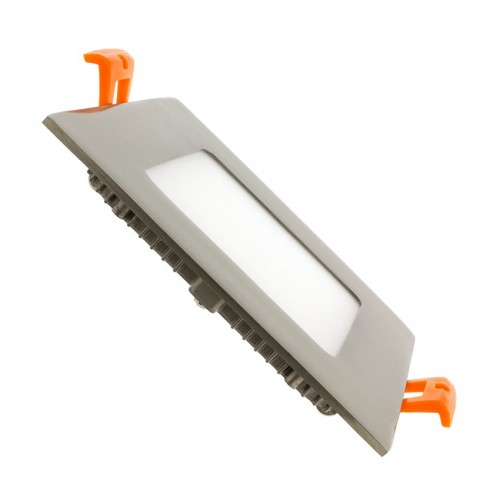 Placa LED Cuadrada SuperSlim 6W Marco Plata